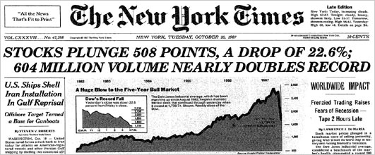 New York Times front page on 20 October 1987