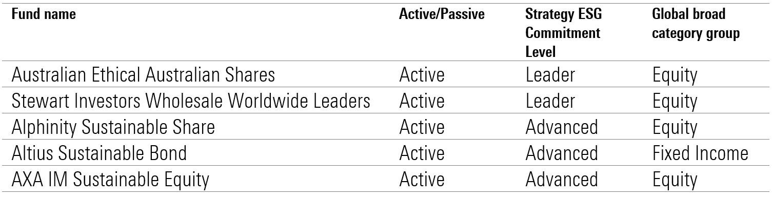 ESG fund leaders advanced
