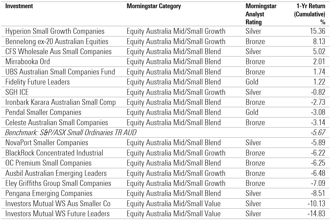 active equity small cap 1 year performance