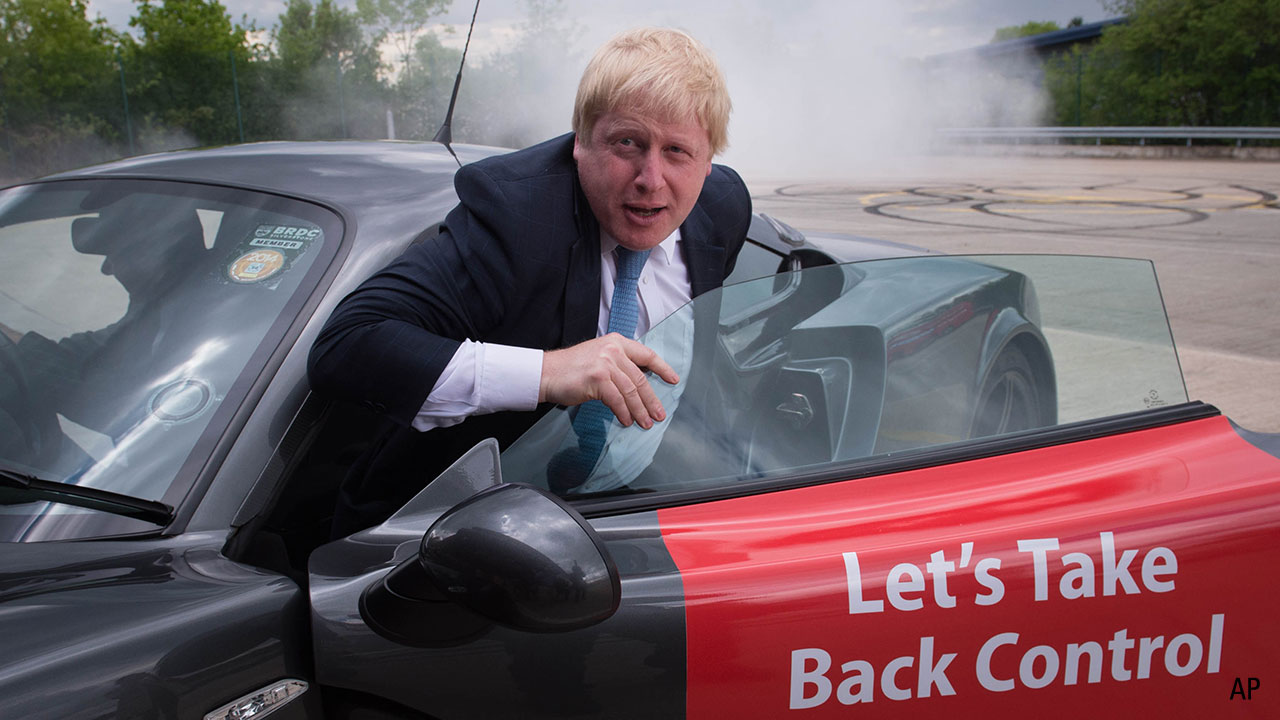 Borish Johnson steps out of Lets Take Back Control car