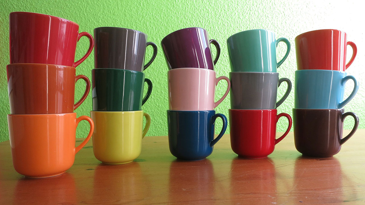 multicoloured mugs