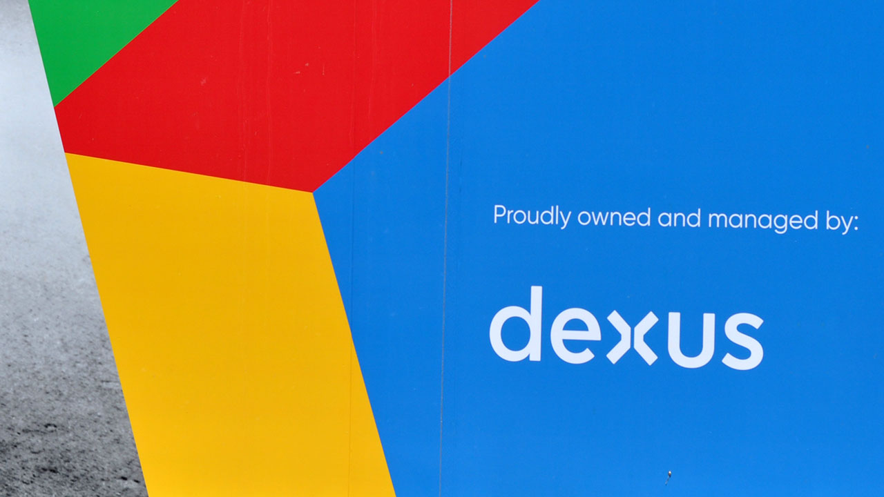 a multi-coloured panel showing the name Dexus