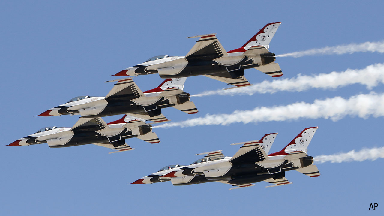 General Dynamics F-16C Fighting Falcon jets, belonging to the USAF Thunderbirds demonstration team, at Nellis AFB in Las Vegas, Nevada on Feb. 27, 2019. (Larry MacDougal via AP)