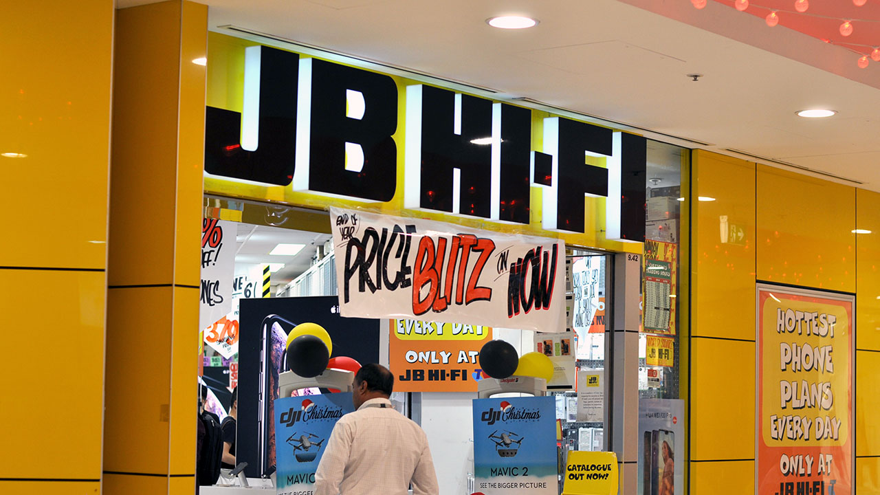 a picture of an entrance to a JB Hifi store
