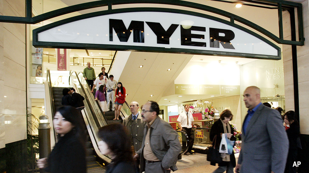 shoppers outside a Myer department store