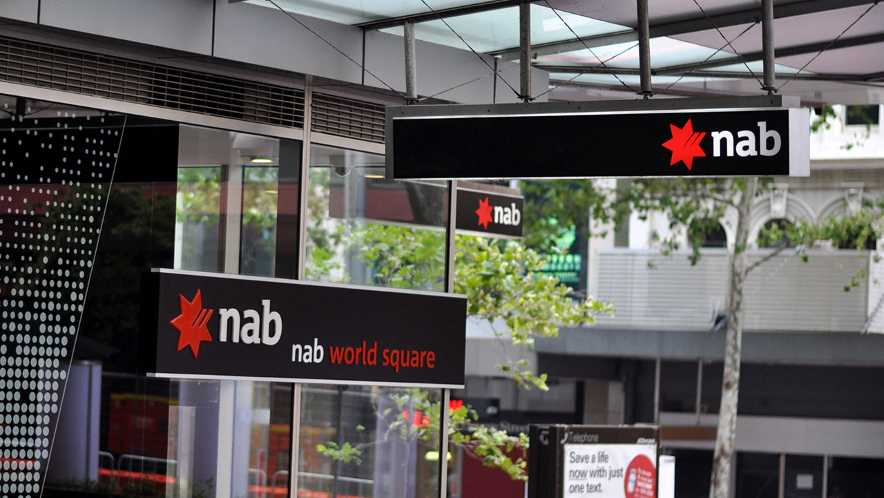 a picture showing an NAB awning in the Sydney CBD