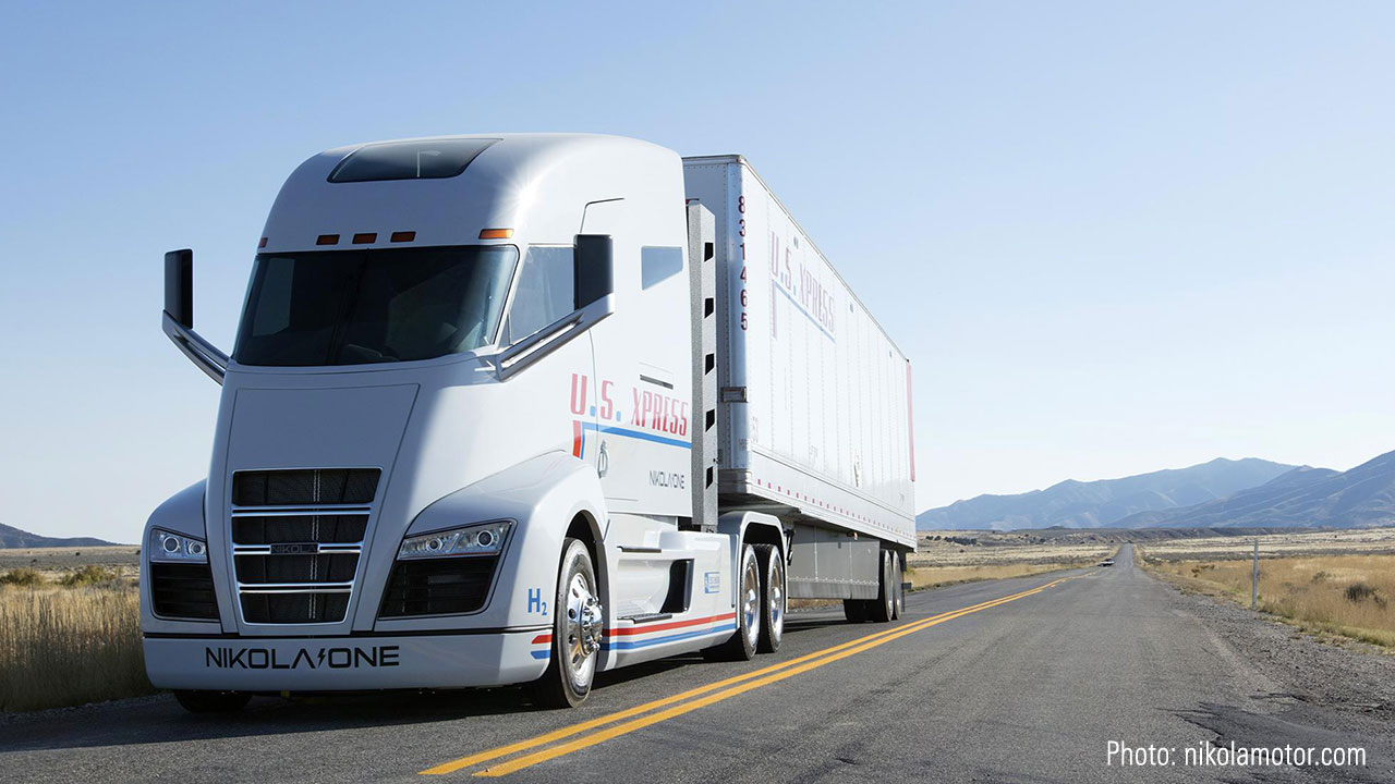 A picture of a Nikola semi-trailer