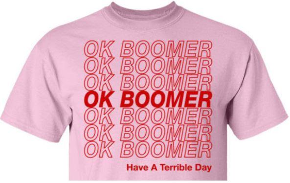 """Image of an """"OK Boomer"""" t-shirt"""