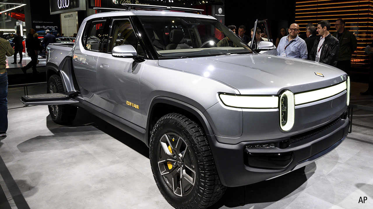 A Rivian on display at the New York Motor Show