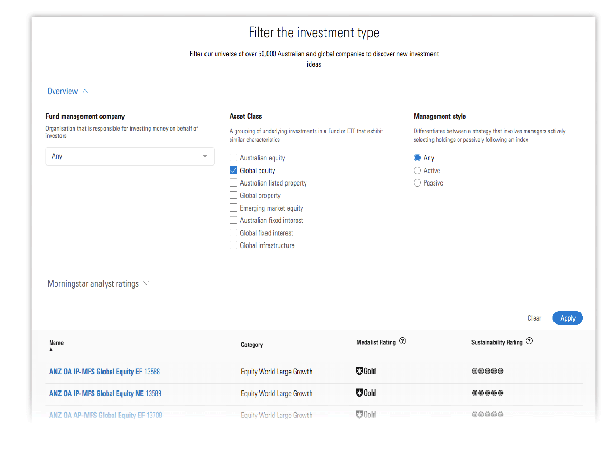 Image of Morningstar Premium investment filter for Funds
