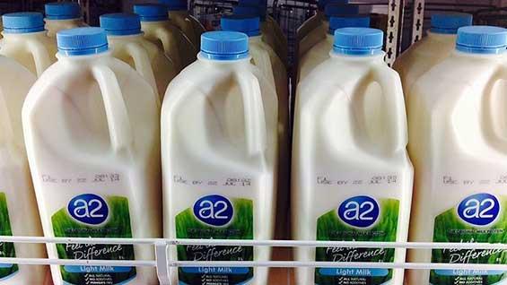 Bottle of A2Milk in a supermarket fridge