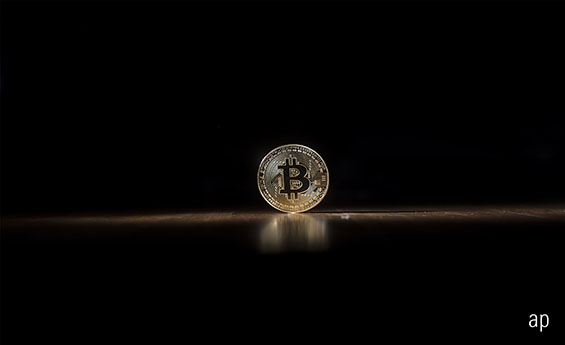 Bitcoin logo on black background