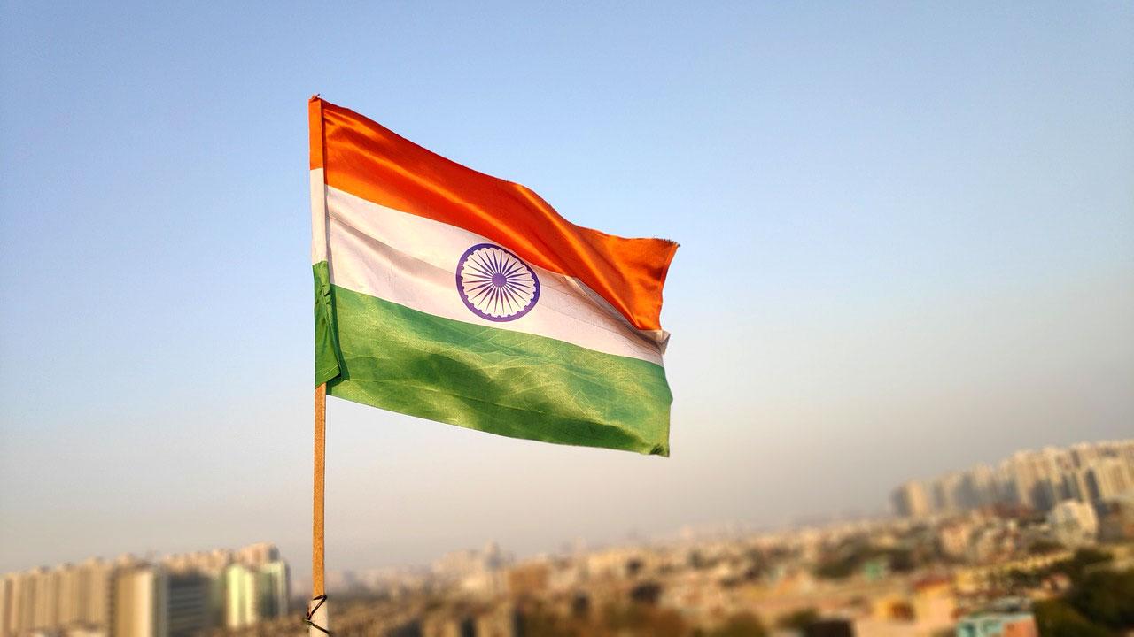 India flag over skyline
