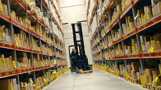 A forklift in a warehouse