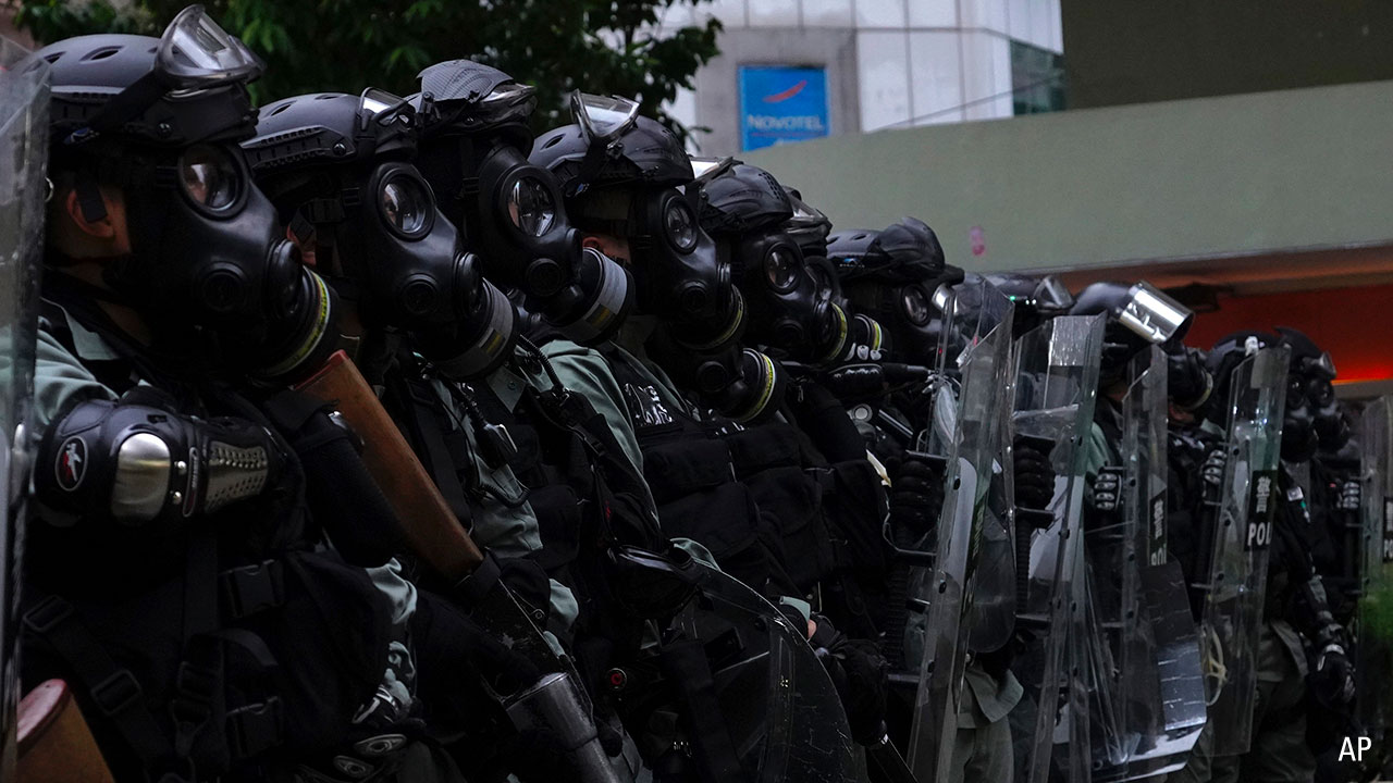 Riot police on the streets of Hong Kong