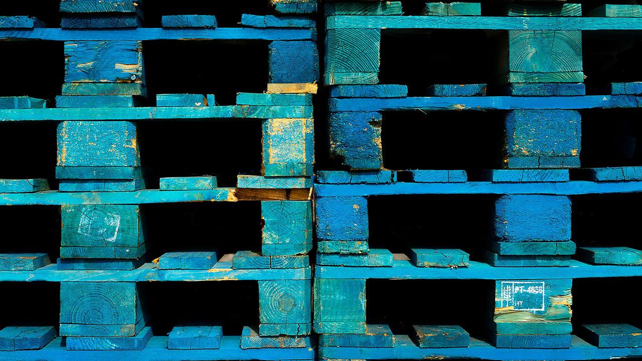blue wooden pallets