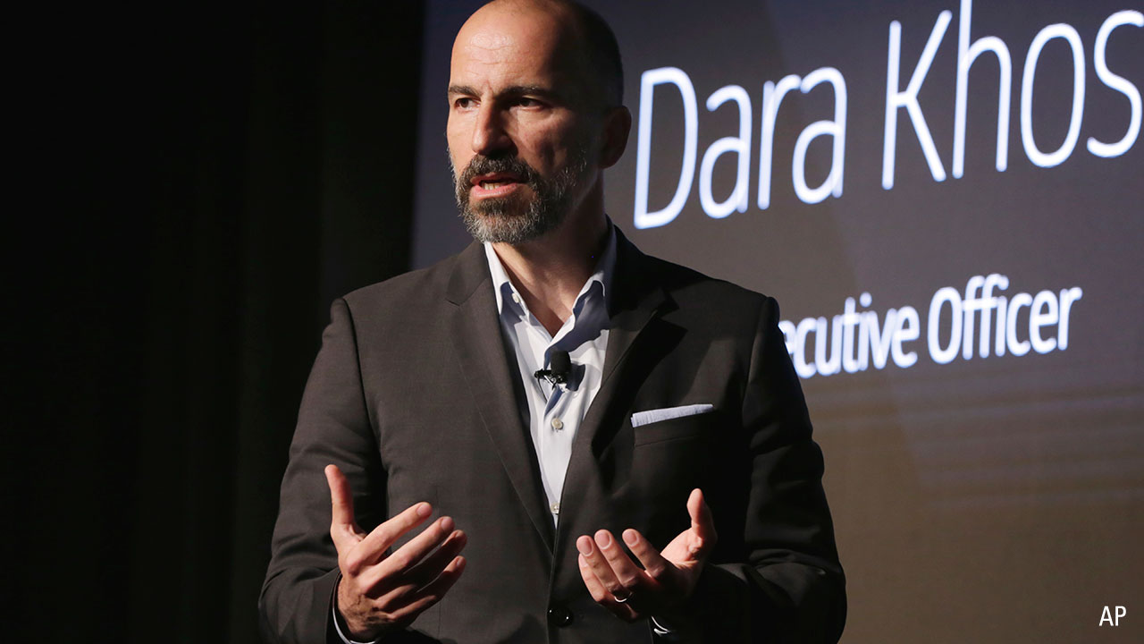 Uber CEO Dara Khosrowshahi speaks during the company's unveiling of the new features in New York, Wednesday, 5 September, 2018